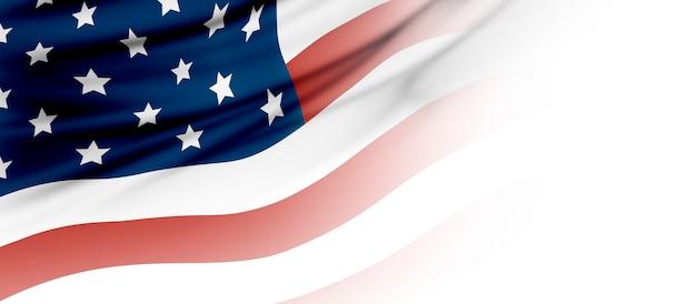 コピースペースを持つアメリカまたはアメリカの国旗