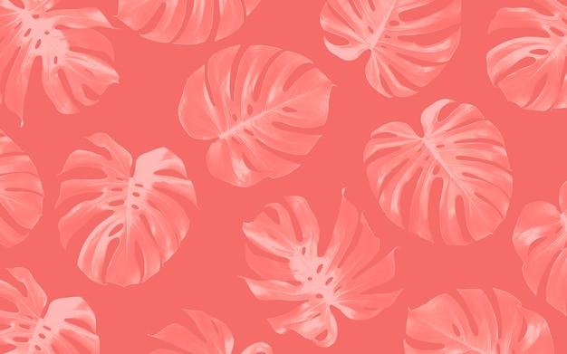 モンステラ葉シームレスパターン背景デザイン熱帯の夏
