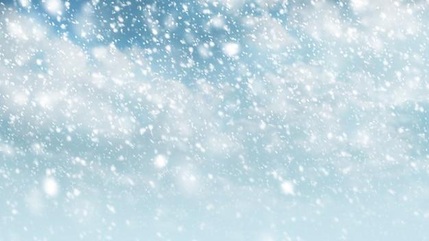 冬の季節とクリスマスの背景のための雲と空に降る雪