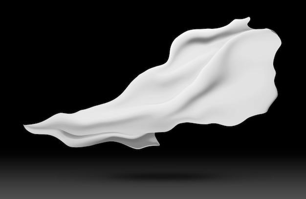 Белая ткань ткани летать на ветру, сложенные