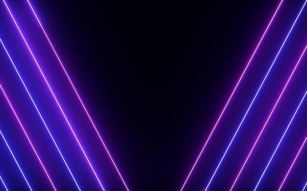 黒の背景に輝くと輝くカラフルなネオン線光アルファベット抽象