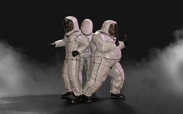 Мужчины в защитном биологическом костюме, в маске