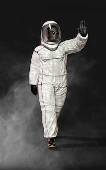 Человек в защитном костюме биологической опасности, в маске и в окружении дыма
