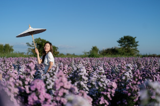紫マーガレットの花畑でポーズをとって白い傘と白いドレスを着た女性。