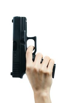 銃を持っている手