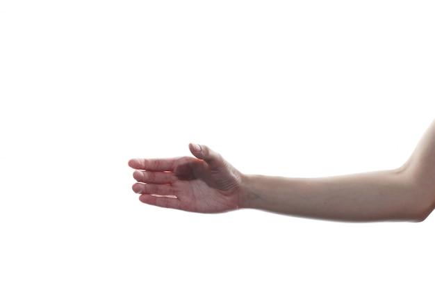 Женщина рука в комплектации жест изолировать на белом