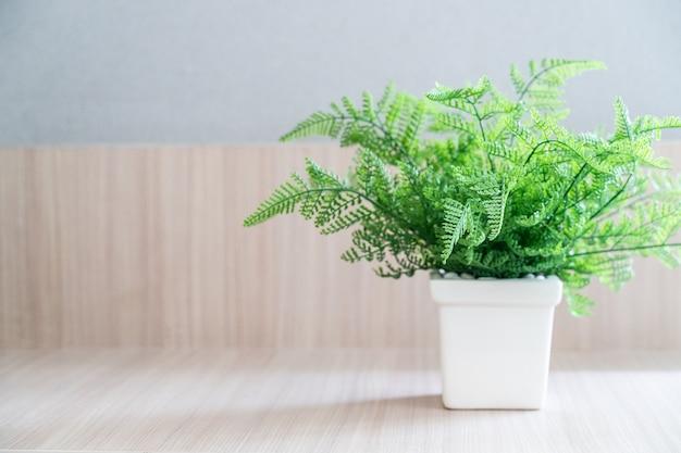 木製のテーブルの上に白い鍋のシダ