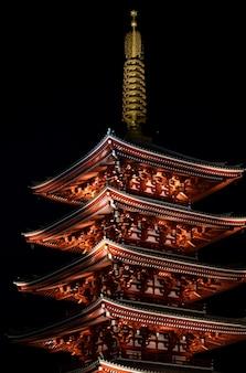 東京浅草の夜の浅草寺。