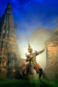 芸術文化タイ文学ラーマヤナ、タイ文化、コン、タイ伝統文化、タイの仮面コンで踊る