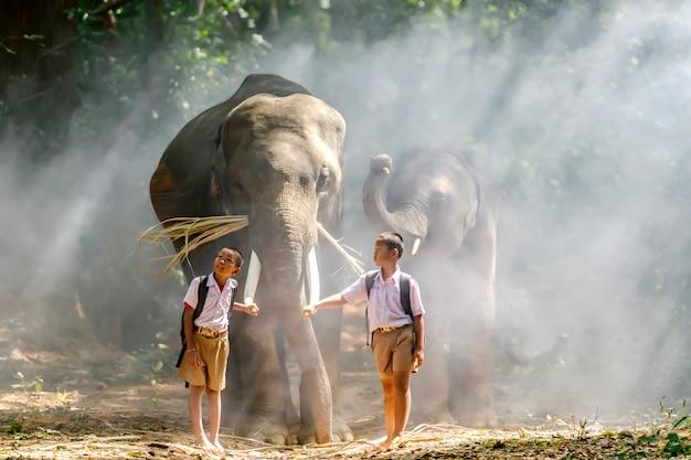 Ученики начальной школы для мальчиков в сельской местности таиланда прогулки со слоном пока они ходят в школу