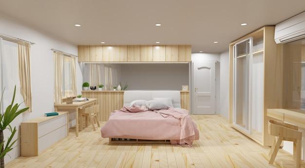 ベッドルームとモダンロフトスタイル