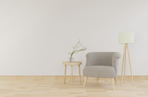 灰色のビロードの肘掛け椅子とモックアップインテリア