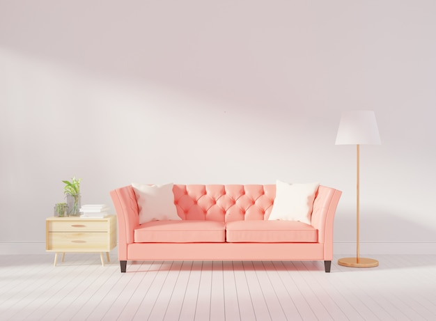 Интерьер гостиной стены макет с розовым тафтинговым диваном