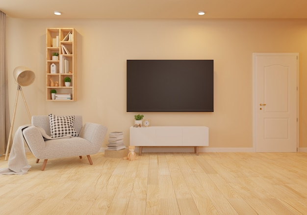 白い壁付きのリビングルームでビロードの肘掛け椅子とインテリア