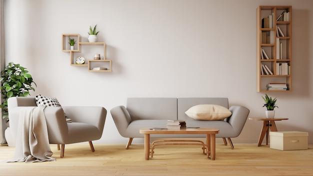 Интерьер с бархатным креслом в гостиной с белой стеной