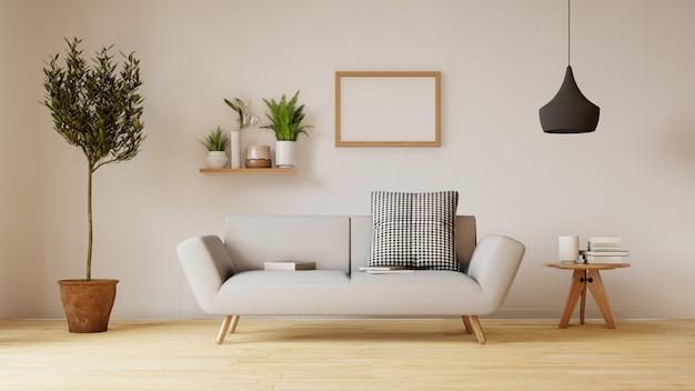 Современный интерьер гостиной с диваном и зелеными растениями, лампа, стол в гостиной