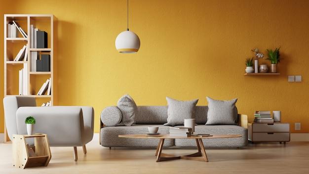 カラフルな白いソファ付きのインテリアフレームリビングルーム