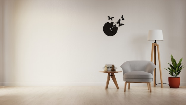 カラフルな白いソファとインテリアポスターリビングルーム