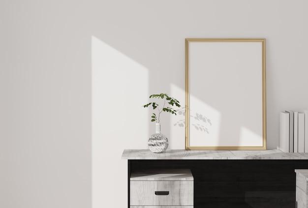 モダンなリビングルームに空白のフォトフレーム