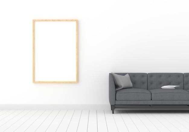 白い部屋のモックアップのフォトフレーム