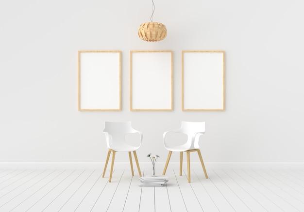 Три пустые фоторамки для макета в белой комнате