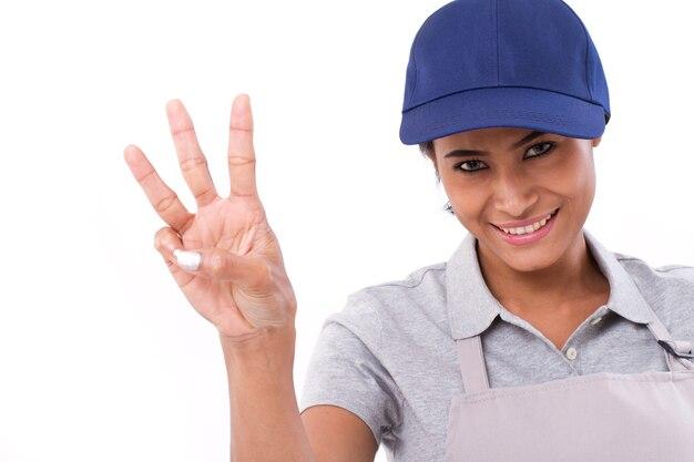 Уверенная женщина-работница