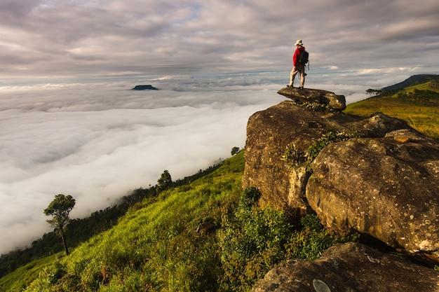 タイのルーイ県、プールアンの高山で写真を撮る。