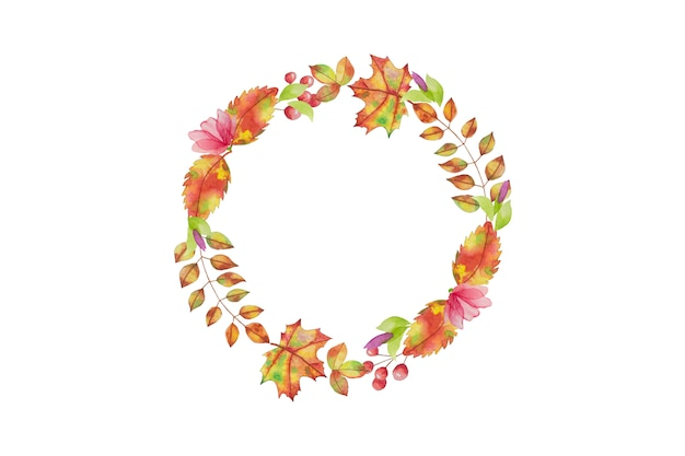 水彩葉サークルフレーム。手描き秋、秋のデザイン、グリーティングカードの構成。分離されました。