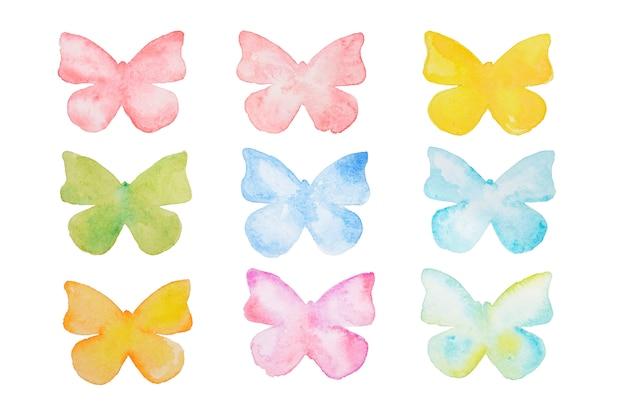 Акварельная бабочка. ручной обращается красивые бабочки набор изолированных.