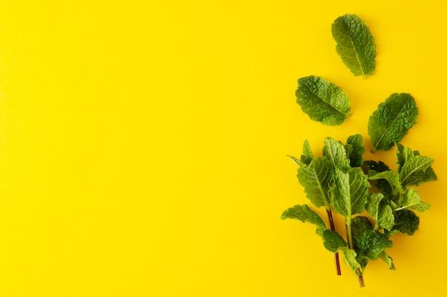 黄色の背景の上面に緑のミントの葉。カクテルや夏の飲み物の材料。