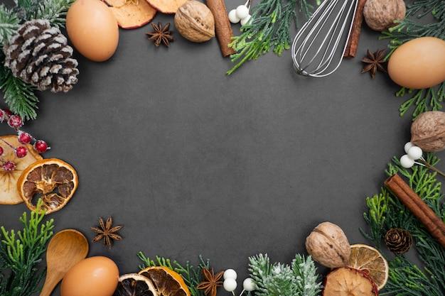 Еда и выпечка макет. различные кухонные принадлежности для выпечки.