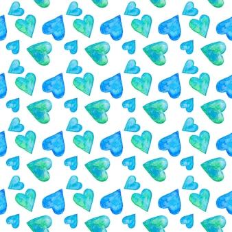Набор синих абстрактных акварельных сердец, вручите оттянутый бесшовный образец.