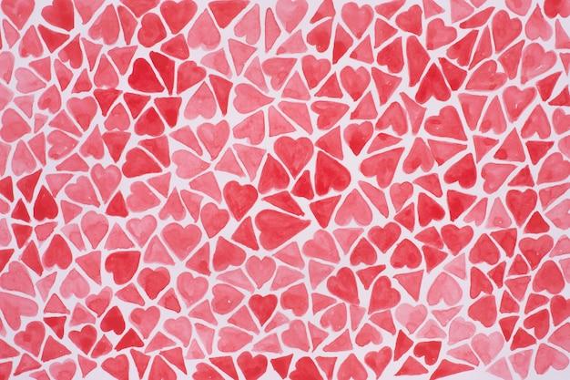 Акварельные сердца в розовом цвете. ручной обращается сердца на день святого валентина.