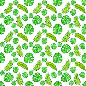 水彩、手描きの熱帯の葉とのシームレスなパターン。夏、抽象的な背景。