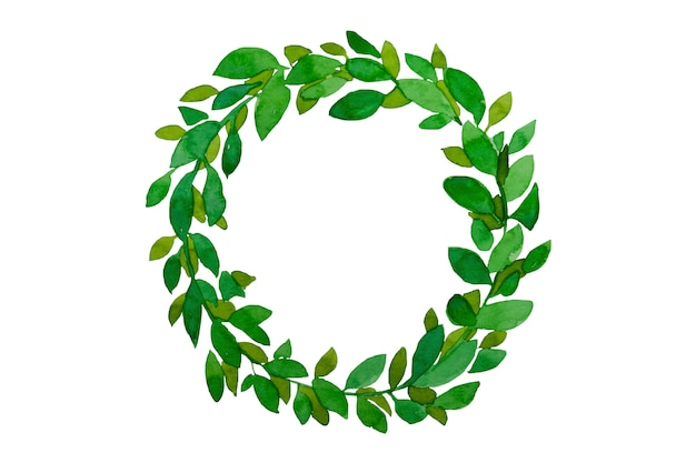 春の緑の葉の水彩画の花輪。手描きイースター、夏の緑の葉が分離されました。