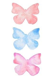 水彩の蝶。手描きの美しい蝶セット分離。