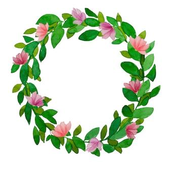 春の緑は、ピンクの花と水彩の花輪を残します。手描きイースター、夏の緑の葉が分離されました。
