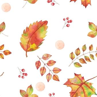 水彩画の秋、秋の黄色、オレンジの葉のシームレスなパターン、手描きのデザイン要素。