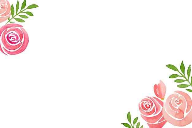 白地にピンクのバラの花のフレームの手描きセット。
