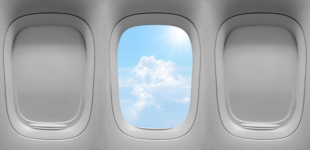 雲の空の背景と飛行機の窓の拡大グループ。