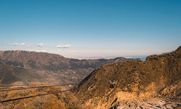 観光客が日本の山頂の美しさを見るための電気ケーブルカー。