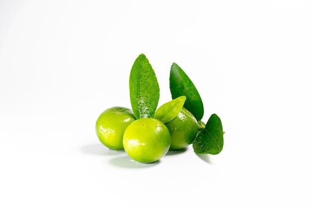 Свежие лимоны и зеленые листья для приготовления пищи, изолированные на белом