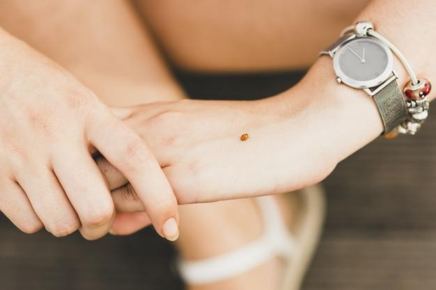 彼女の手にてんとう虫を保持している若い女性。