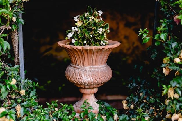 ヨーロッパの庭に古代の花が彫られた石の花瓶。