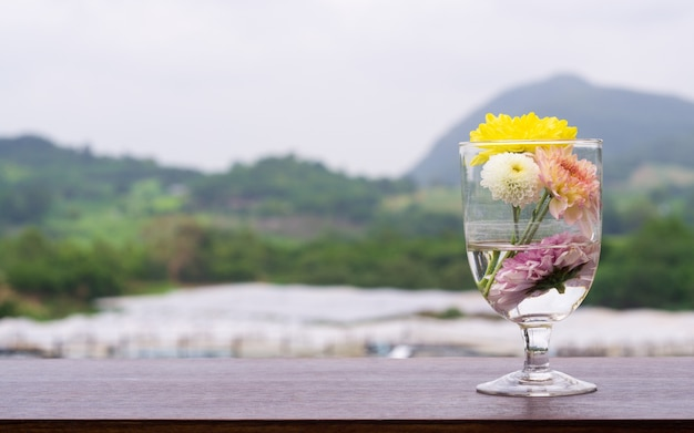 山の背景と木製のテーブル上のガラス瓶の菊の花束