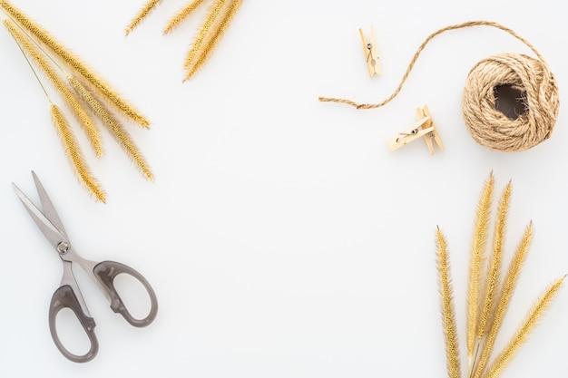乾いた草、ロープと白い背景で隔離のはさみのコイル