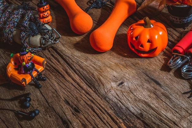 木製のテーブルにハロウィーンの飾りと運動素材