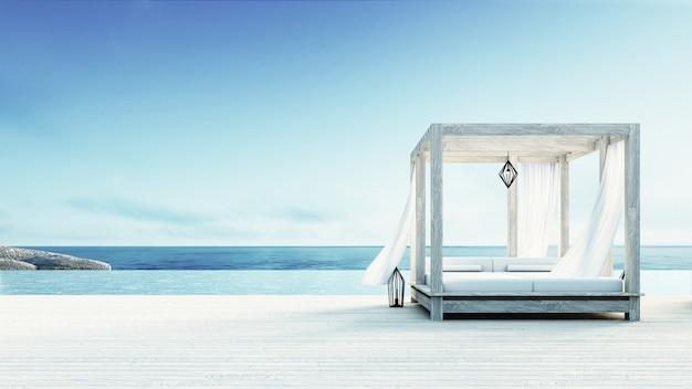 サンデッキの海の景色、休暇と夏