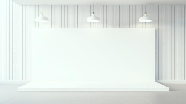 白い木製の壁とインテリアデザインの白いポスター