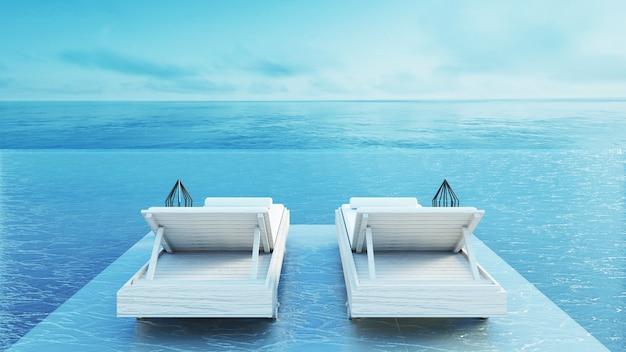 ビーチラウンジ - 休暇と夏のための海の眺めのサンデッキ